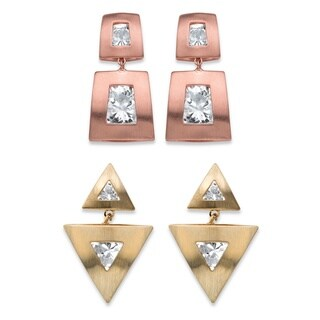 PalmBeach Squared and Triangle Channel-Set Round Crystal 2-Pair Drop Earrings Set in Rose Gold-Plated and Gold Bold Fashion