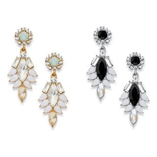 PalmBeach Marquise and Pear-Cut Multicolor Crystal 2-Pair Vintage-Style Drop Earrings Set in Gold Tone and Si Bold Fashion