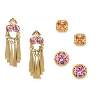 Champagne and Pink Crystal 3-Pair Stud and Tassel Drop Earrings Set in Matte Gold Tone Bol