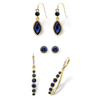 Round and Marquise-Cut Simulated Midnight Blue Sapphire Crystal 3-Pair Stud, Drop and Hoop