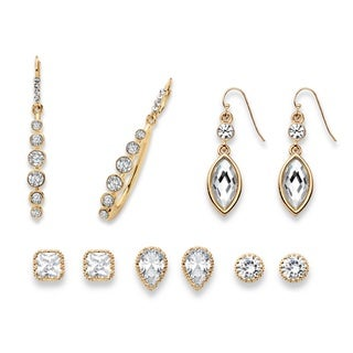 PalmBeach Round, Pear, Marquise and Princess-Cut Faceted White Crystal Gold Tone 5-Pair Stud and Drop Earrings Bold Fashion