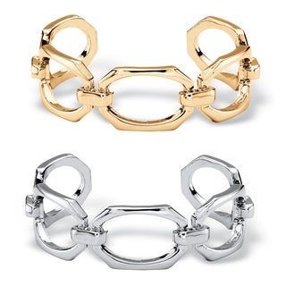 """Elongated Octagon-Link 2-Piece Cuff Bracelet Set in Gold Tone and Silvertone 6.5"""" Bold Fas"""