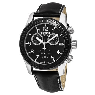 Tissot Men's T039.417.26.057.00 'V 8' Black Dial Black Leather Strap Chronograph Swiss Quartz Watch