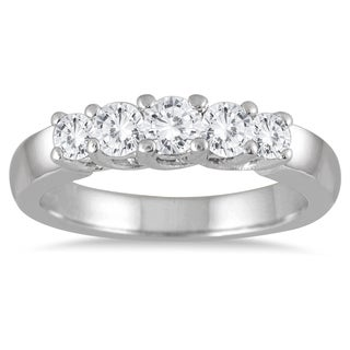Marquee Jewels 10k White Gold 3/4ct TDW Diamond 5-stone Ring