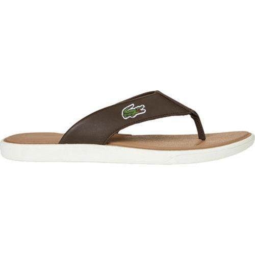 0dafd144c2d5 Shop Men s Lacoste L.30 116 2 Flip-Flop Dark Brown Off White Leather Canvas  - Free Shipping Today - Overstock - 11865076