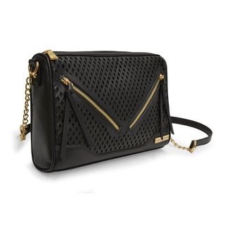 Adrienne Vittadini Diamond Perforated Vegan Leather Top Zip Crossbody Handbag