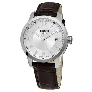 Tissot Men's T055.410.16.037.00 'Prc 200' Silver Dial Brown Leather Strap Swiss Quartz Watch