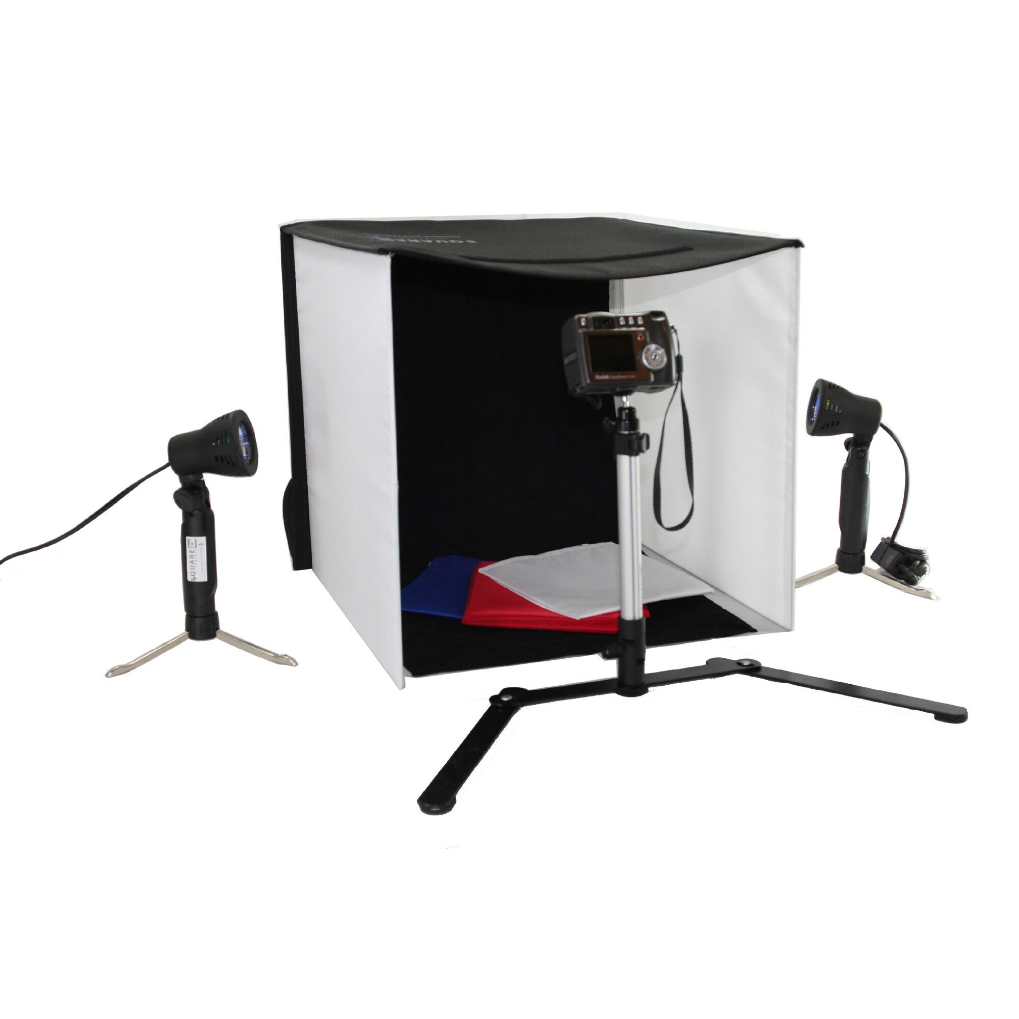 Square Perfect 16 Inch LED Photo Studio in A Box w//4 Color Backdrops Pro Quality