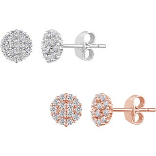 Platinum over Silver or 14k Rose Goldplating Lab-created White Sapphire Stud Earrings