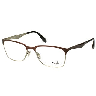 Ray-Ban RX 6344 2862 Dark Brown And Silver Metal Square 54mm Eyeglasses