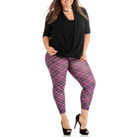 Women's Purple Plaid Plus Size Legging