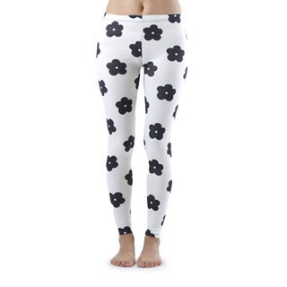 Juniors' Black Flower All Over White Ankle Leggings