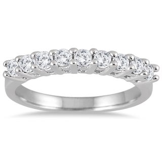 Marquee Jewels 10k White Gold 1ct TDW Prong 9-stone Diamond Band (I-J, I2-I3)