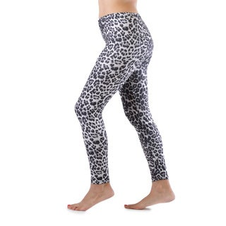 Juniors' Grey Leopard Ankle Length Leggings