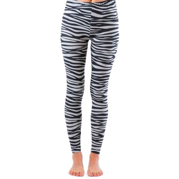 Juniors' Ankle Length Zebra Leggings