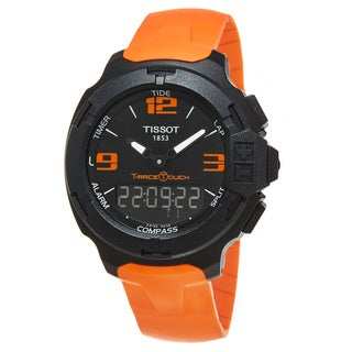 Tissot Men's T081.420.97.057.02 'T-Race Touch' Black Dial Orange Rubber Strap Aluminum Swiss Quartz Watch