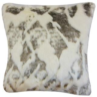 Valeska Faux Fur Ivory/ Grey Throw Pillow