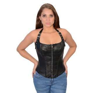 Women's Lambskin Zipper Front Halter Top with Buckled Straps