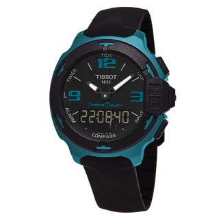 Tissot Men's T081.420.97.057.04 'T-Race Touch' Black Dial Black Rubber Strap Teal Aluminum Swiss Quartz Watch