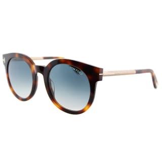 Tom Ford TF 435 52P Janina Light Havana Plastic Round Blue Gradient Lens Sunglasses