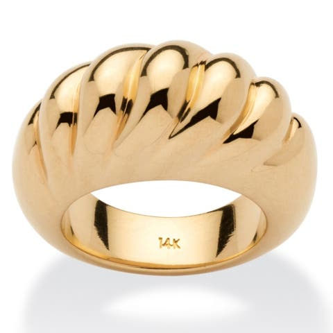 14k Yellow Gold Nano Diamond Resin Filled Shrimp-Style Dome Ring Tailored