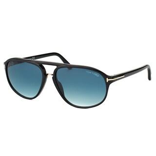 Tom Ford TF 447 01P Jacob Shiny Black Plastic Aviator Blue Gradient Lens Sunglasses