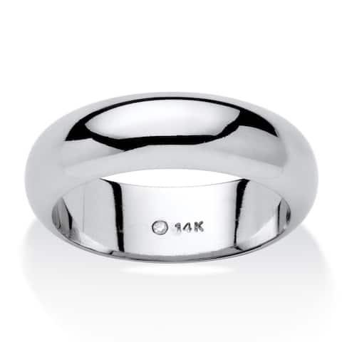 14k White Gold Unisex Nano Diamond Resin Filled Tailored Wedding Band