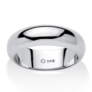 PalmBeach 14k White Gold Unisex Nano Diamond Resin Filled Tailored Wedding Band