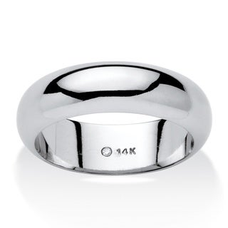 14k White Gold Unisex Nano Diamond Resin Filled Tailored Wedding Band