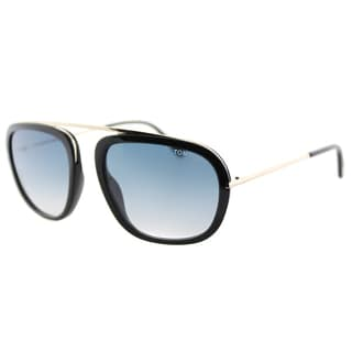 Tom Ford TF 453 01P Johnson Navigator Black Gold Plastic Fashion Blue Gradient Lens Sunglasses