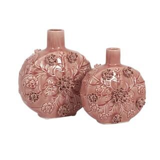 Pink Blossom Vases (Set of 2) (Option: Pink)