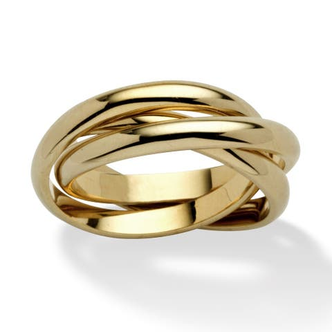 14k Yellow Gold-Plated Triple Band Crossover Ring Tailored