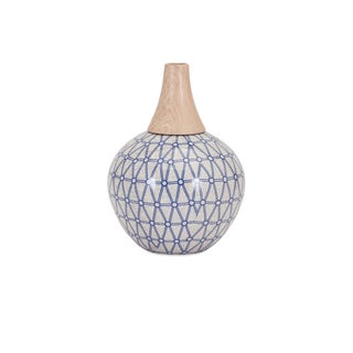 Small Vase with Blue and White Geometric Pattern