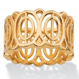 PalmBeach Concentric Oval-Link Geometric Eternity Ring in 18k Gold over Sterling Silver Tailored