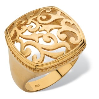 Squared Filigree Ring with Milgrain Edging in 18k Gold over Sterling Silver Tailored