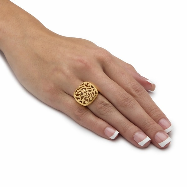 Squared Filigree 18k Gold over .925 Sterling Silver Ring