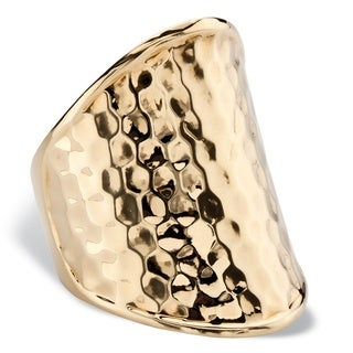 PalmBeach Hammered-Style Concave Scoop Ring in Gold Tone Tailored
