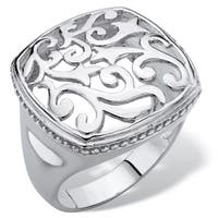 Squared Filigree Classic Ring with Milgrain Edging in Sterling Silver Tailored