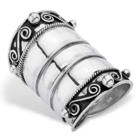 Bohemian Wide Cigar Band-Style Scroll Ring Band in Antiqued Sterling Silver Tailored