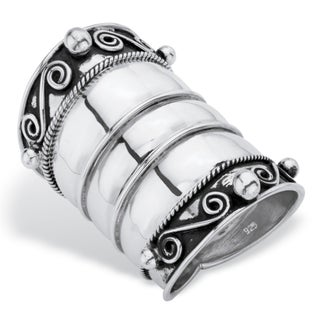 Bohemian Wide Cigar Band-Style Scroll Ring Band in Antiqued Sterling Silver Tailored (5 options available)