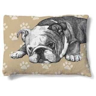 Laural Home Bulldog Fleece Dog Bed