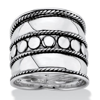 Bali Bohemian Wide Cigar Band-Style Ring Band in Antiqued .925 Sterling Silver with Rope D