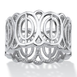 Oval-Link Geometric Eternity Ring in Sterling Silver Tailored (3 options available)