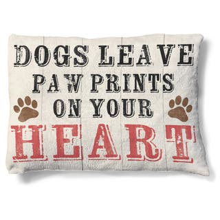Laural Home Dogs Leave Paw Prints on Your Heart Fleece Dog Bed|https://ak1.ostkcdn.com/images/products/11701948/P18625879.jpg?impolicy=medium