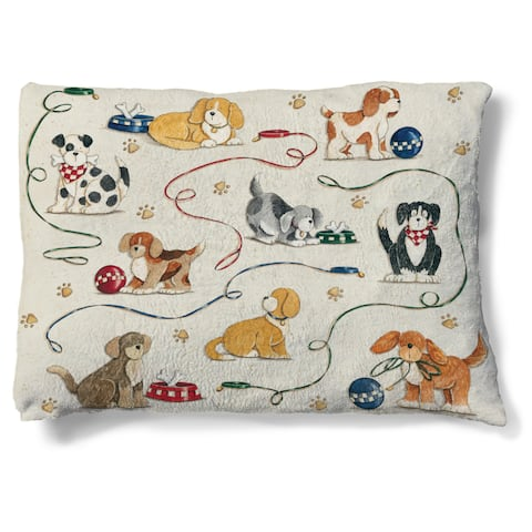 Laural Home Playful Dogs Fleece Dog Bed