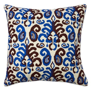 Wine, Light Blue and Beige Damask Print 18 Inch Decorative Throw Pillow