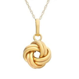 Gioelli 10k Gold Textured Large Love Knot Necklace