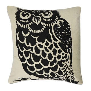 Natural and Black Owl Print 18 Inch Decorative Throw Pillow