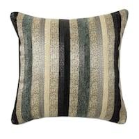 Blue Multi-Stripe Jacquard 18 Inch Decorative Throw Pillow