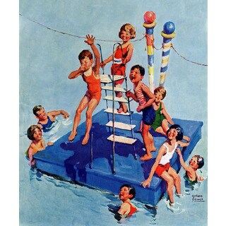 Marmont Hill 'Fun in the Water' by Curtis Painting Print on Canvas - Multi-color